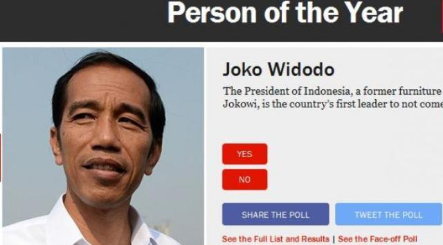 jokowi masuk nominasi tokoh tahun ini majalah time