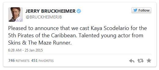 Kaya Scodelario Akan Bermain dengan Johnny Depp dalam Film terbaru Pirates Of The Caribbean Dead Men Tell No Tales